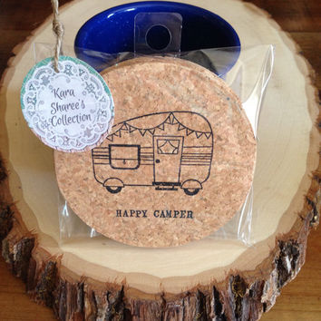 Happy Camper Coasters, Absorbent Cork Coasters, Set of 4 Coasters, RV Trailer Wedding Favors, Camper Accessories, Wholesale - Item# 011