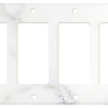 Italian Calacatta Gold Marble Quadruple Rocker Switch Wall Plate / Switch Plate / Cover - Honed