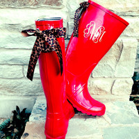 Tall Red Raspberry Gloss Rain Boots with Leopard Bows