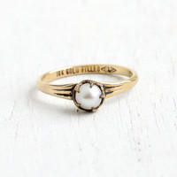 Vintage 10k Yellow Gold Filled Simulated Pearl Ring - Size 2 3/4 Antique 1930s Hallmarked C&C Clark and Coombs Midi Baby Ring Jewelry