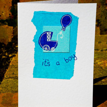 It's a Boy Handmade Greeting Card for new born babies