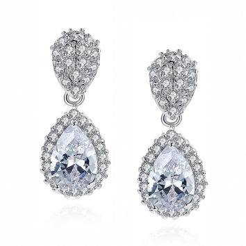 Teardrop and Round Cubic Zirconia Halo Earrings