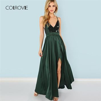 COLROVIE Green Sequin Split V-Neck Summer Dress 2018 New High Waist Backless Maxi Dress Sexy Satin Women Evening Party Dress