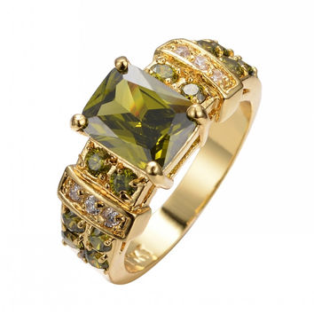 Peridot Square Sapphire Ring Yellow Gold Filled Jewelry Fashion Wedding Rings For Men And Women Bijoux Femme Size 6-12 RY0208