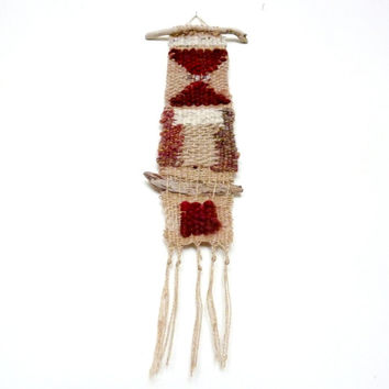 Wall Hanging. Fiber Art. Weaving with Driftwood & Quartz Crystal. One of a Kind