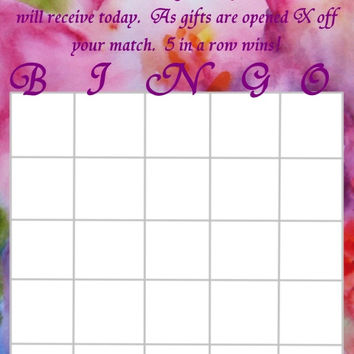 Multicolored  Bridal Shower Personalized Bingo Cards