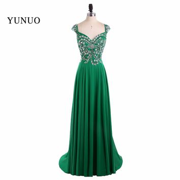 Real Picture Green A Line Chiffon V Neck Cap Sleeves Long Prom Dresses 2017 Beading Backless Floor Length Prom Dress YN80208