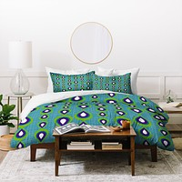 Sharon Turner Peacock Mod Drops Duvet Cover