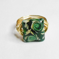 SALE THIS WEEK Green Lampwork and Gold Wire Wrapped Ring Sizes 1-14