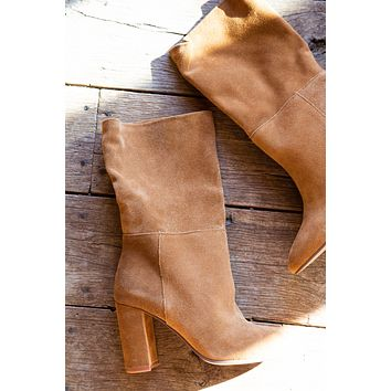 Keep Up Suede Mid Calf Boot, Honey Brown | Chinese Laundry