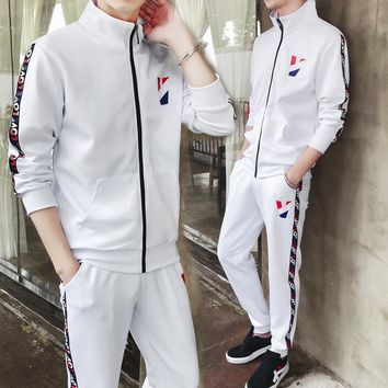 2018 New spring men's Active tracksuit 2pcs sets coat+long pants males Casual sportswear Man Joggers suits M-3XL MQ457