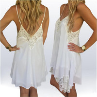 White Spaghetti Strap Lace Panel Dress