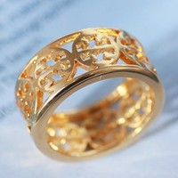 Tory Burch New fashion hollow women 6 number ring Golden