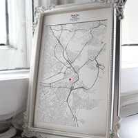 Custom Hand-Drawn Map Art Print On Fine-Art Paper