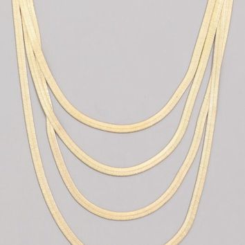 Multi Strand Flat Chain Necklace