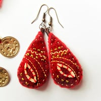 Felt red earrings, red and gold with beads, ethnic, gipsy, boho, bellydance, OOAK