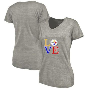 New Designs Summer Pittsburgh Leisure Fashion V-neck T Shirts, Steelers Fans LOVE Logo Picture Printing Style Women's T-Shirt