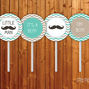 Mustache / Little Man Baby Shower Cupcake Toppers