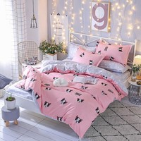 Cartoon Panda Dog pink Pattern Boy Girl Adult Kids Bedclothes 4pcs Bedding Sets  Bed Sheet Duvet Cover Pillowcase Multicolors