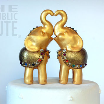 Decorated Gold Elephant Cake Topper Set - Swarovski Crystal Accents - Customized Banner Included