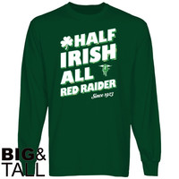 Texas Tech Red Raiders Half Irish Big and Tall Long Sleeve T-Shirt - Green