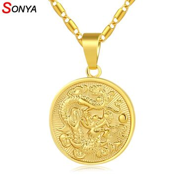 SONYA Classic Auspicious Dragon Pendant Necklace For Women Men Gold Color Jewelry Mascot Ornaments Lucky Gifts Bijoux Femme
