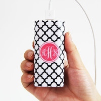 Quatrefoil Print Monogrammed Portable Power Bank Battery Charger for iPhone and Samsung