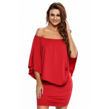Women's Convertible Cape Off Shoulder Ruffles Multiple Dressing Layered Mini Dress