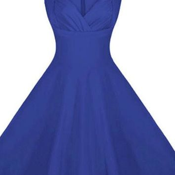 Royal Blue Sweetheart Neck Retro Collared Skater Dress