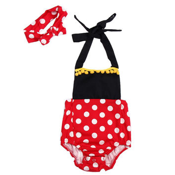 Baby Girl's Minnie Mouse Polka Dot Romper With Headband