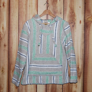 Vintage 1990's Baja Hoodie - Size Small - Green, Navy and Khaki Stripes