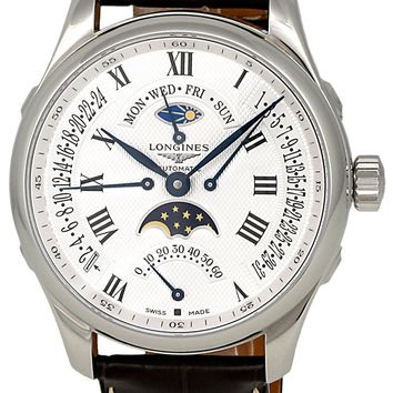 Longines Master Collection Automatic Multi-Function Silver Dial Brown Leather Mens Watch L27394713