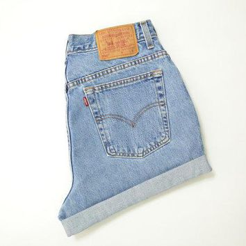 "Vintage 90s Levis 550 High Waisted Shorts Stone Wash Denim Cuffed Rolled Cutoff Hem Boyfriend Jeans Festival Concert Wear Size 32"" Waist"