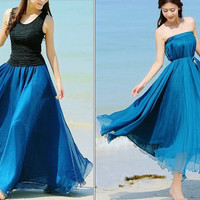 Peacock blue Chiffon skirt Maxi Skirt Long Skirt Maxi Dress Silk chiffon dress Women Silk Skirt Beach Skirt plus size dress Pleat skirt