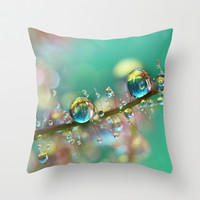 Smokey Rainbow Drops Throw Pillow by Sharon Johnstone