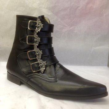 4 STRAP BAT BUCKLE WINKLEPICKER BOOTS IN BLACK LEATHER
