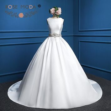 Rose Moda Vintage Sleeveless Satin Ball Gown with Crystal Sash Illusion Crystal Beading Back Puffy Wedding Dress Real Photos