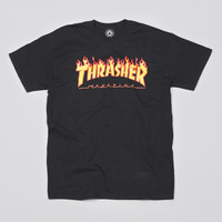 Flatspot - Thrasher Flame Logo T Shirt Black