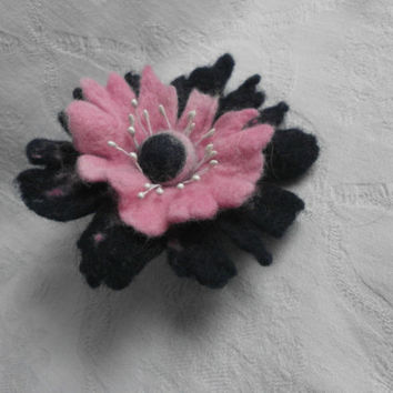 Wool Pink Blue Felt Flower Brooch Pin Hair Clip Felt Poppy Brooch Flower  Pink Jewelry  Poppy Brooch  Accessories Ornament Dress Hat Women