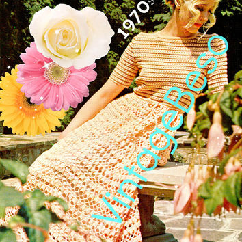 Digital Pattern - Ladies Dress Crochet Pattern - Vintage Beso PDF Pattern - Vintage 1970s Maxi Dress Wedding Dress Evening