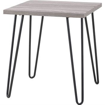 Modern Classic Vintage Style End Table with Wood Top & Metal Legs