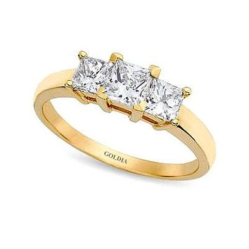 1 1/2 ct. Princess Cut Diamond Yellow Gold Three-stone Engagement Ring