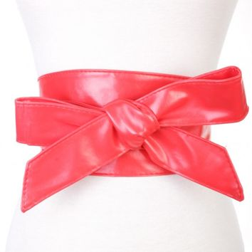 Red Faux Leather Bow Accent Waist Belt