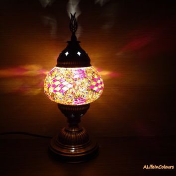Unique handmade Turkish authentic glass mosaic colourful authentic table lamp, bedroom night lamp, office decorative lamp, bedside lamp.