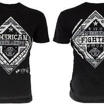 Licensed Official AMERICAN FIGHTER Men T-Shirt HILLSDALE Athletic REFLECTIVE Biker Gym MMA UFC $54