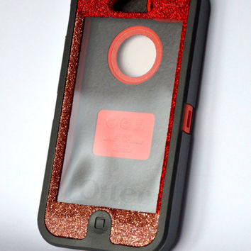 Otterbox Case iPhone 5 Two Glitter Color Sparkly Bling Defender Series Custom Case  Frost Red and Rose/Black