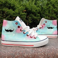 Blue Mustache Pattern Hand Painted High Top Canvas Sneakers 052825 ADP 0617