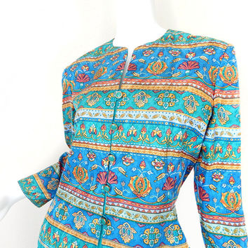 Vintage 90s Colorful Silk Women's Jacket - Size 6 - Adrianna Papell Jade Coral Blue Baroque Floral Collarless Pastel Goth Spring Blazer
