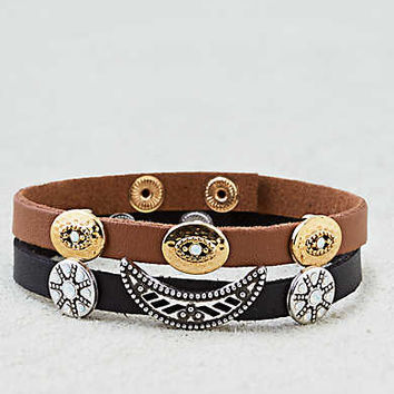AEO Black and Brown Charm Bracelet Duo , Black