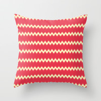 Artistic stripes on red Throw Pillow by cycreation